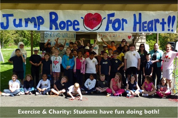 Exercise and Charity: Students participate in the American Heart Association: Jump Rope for Heart